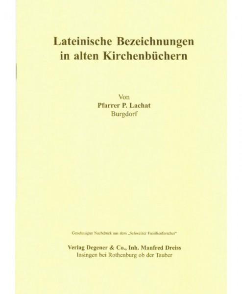 Lateinische Bezeichnungen in alten Kirchenbüchern.